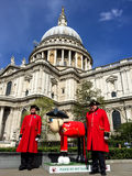 Shaun the sheep sculpture in front of St Paul cathedral in London, UK Royalty Free Stock Image