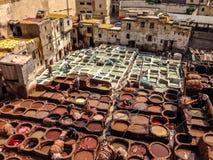 Shaura ` s garbarnie Fes Marocco Zdjęcia Royalty Free