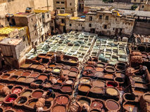 Shaura`s tanneries Fes Marocco Royalty Free Stock Photos