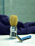 Shave brush with razor  Stock Image
