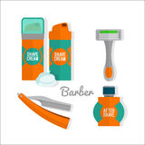 After shave flat icon set. Shaving razor, shaving foam, after shave balm vector icons. Stock Photos