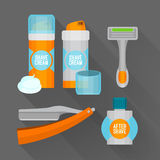After shave flat icon set. Shaving razor, shaving foam, after shave balm vector icons. Royalty Free Stock Image