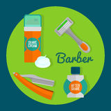 After shave flat icon set. Shaving razor, shaving foam, after shave balm vector icons. Royalty Free Stock Photos