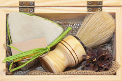 Shave set. Traditional style barber brush and shave soap set Royalty Free Stock Photography