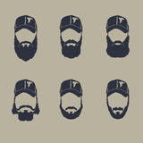 Shave. Set of hairy curly hipster beard, men hairstyles, hand drawn mustache beard Stock Images