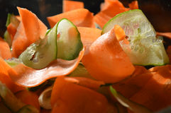 Shaved carrots and cucumbers Royalty Free Stock Image