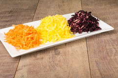 Shaved carrots in three colors Royalty Free Stock Image