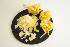 Shaved Cheese and pasta Stock Photo