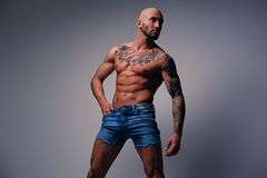 Shaved head, muscular male with tattoos on his torso over grey v. Studio portrait of shirtless shaved head, muscular male with tattoos on his torso dressed in a stock images