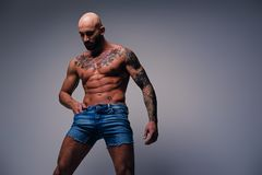 Shaved head, muscular male with tattoos on his torso over grey v. Studio portrait of shirtless shaved head, muscular male with tattoos on his torso dressed in a Stock Image