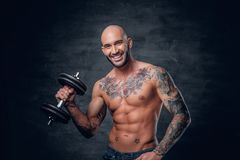 Shaved head sporty male with tattoos on his chest and arms holds. Studio portrait of shaved head sporty male with tattoos on his chest and arms holds dumbbell stock photography