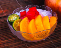 Shaved Ice dessert and Fresh fruits Stock Images