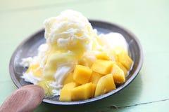 Shaved Ice dessert with Fresh Mango Royalty Free Stock Image