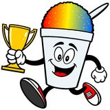 Shaved Ice Running with Trophy. A vector illustration of a Shaved Ice Running with Trophy Royalty Free Stock Photos