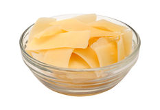 Shaved Parmesan Cheese in a glass bowl Royalty Free Stock Photo