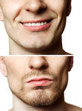 Shaved unshaved. Portrait of a young man before and after shaving isolated on white background Royalty Free Stock Photography