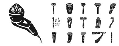 Shaver icon set, simple style royalty free illustration