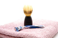 Shaver with shaving brush Stock Images