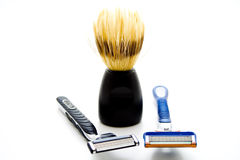 Shaver with shaving brush Royalty Free Stock Image