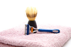 Shaver with shaving brush Royalty Free Stock Photography