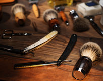 Shaving accessories on a Luxury wooden background. Stock Photography