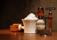 Shaving accessories on a Luxury wooden background. Royalty Free Stock Photo