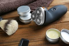 Shaving accessories for man stock photos