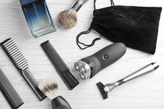 Shaving accessories for man stock photo