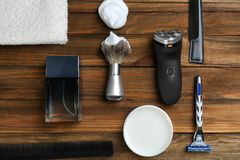 Shaving accessories for man stock images