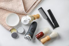 Shaving accessories for man royalty free stock photos