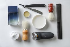 Shaving accessories for man royalty free stock photography