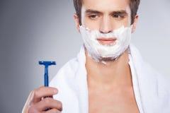 Shaving with bad razor. Stock Photography