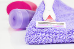 shaving blade on towel Stock Photography