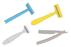Shaving blades set. Cartoon image of shaving blades set Royalty Free Stock Images