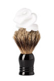 Shaving brush with foam isolated on white Stock Image