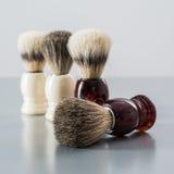Shaving brush  on grey background. Stock Photo