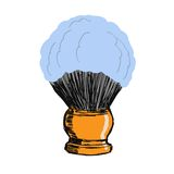 Shaving brush. Hand drawn, sketch, cartoon illustration of shaving brush Stock Photos