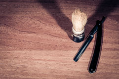 Shaving brush and razor blade, Royalty Free Stock Photography