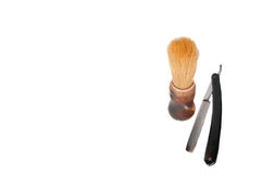 Shaving brush and razor blade,. Isolated on a white background Stock Images