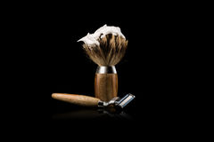 Shaving Brush and Safety Razor on black Background Stock Image