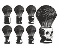 Shaving brush. Set for barber shop on a white background Royalty Free Stock Images