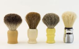 Shaving brushes ( Made out of horse, badger and boar  hair) Stock Photo