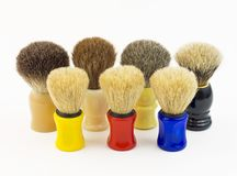 Shaving brushes ( Made out of horse, badger and boar  hair) Royalty Free Stock Photos