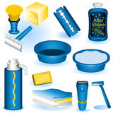 Shaving collection. A collection of twelve different shaving blue images Royalty Free Stock Photography