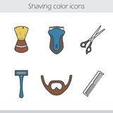 Shaving color icons set Stock Images