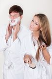 Shaving cream applied on face Stock Photos