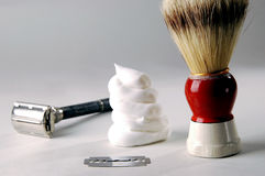 Shaving cream and razor Stock Photography