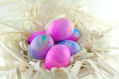 Shaving Cream Tye Dye Easter Eggs. Easter eggs made with shaving cream and neon food colors royalty free stock photos