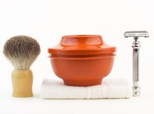 Shaving equipment. Shaving kit ( Shaving soap, brush, towel and razor Stock Photography