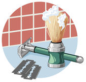 Shaving equipment. Shaving brush and safety razor. Stock Images